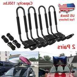 2 Pairs Kayak Carrier Boat Ski Surf Snowboard Roof Mount Car