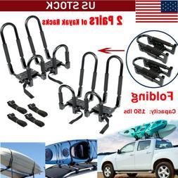 2 PCS Universal Kayak Roof Racks J-Bar Top Mount Car Carrier