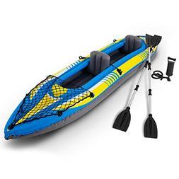 oldzon 2-Person Inflatable Canoe Boat Kayak Set W/Aluminum A