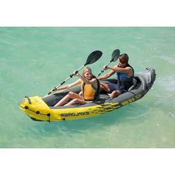 2 Person Inflatable Kayak intex Explorer K2 Yellow with Alum