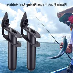2pcs Plastic Fishing Rod Holder with Cap for Kayak Canoe Flu