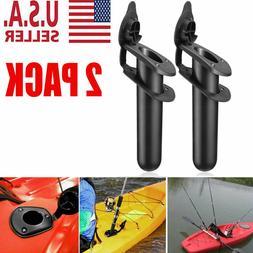 2X Plastic Flush Mount Fishing Boat Rod Holder and Cap Cover