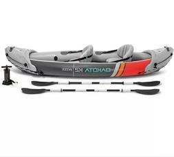 Intex Dakota K2 2 Person Vinyl Inflatable Kayak and Accessor