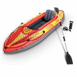 9ft Goplus 1-Person Inflatable Canoe Boat Kayak Set W/ Pump