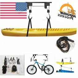 Bicycle Rack Garage Storage Lift Hoist Hanger  Kayak Canoe M