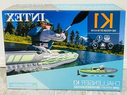 Intex Challenger K1 Kayak 1 Person Inflatable Kayak Set with