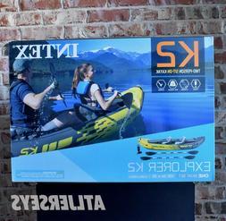 Intex Explorer K2 Kayak 2-Person Inflatable Set with Aluminu