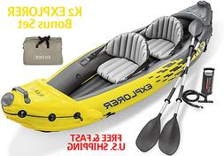 EXPLORER K2 Kayak W/ Aluminum Oars Quick Air Pump 2-Person I