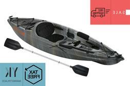 Fishing Kayak w/ Paddle Angler Gray Swirl Sit-On Lake Ocean