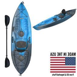Fishing Kayak with Paddle Blue Camouflage Rafting Luxury Rod