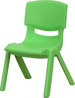 "Green Plastic Stackable School Chair with 10.5"" Seat Height"