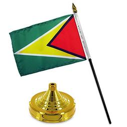 ALBATROS Guyana 4 inch x 6 inch Flag Desk Set Table Stick wi