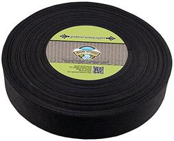 Country Brook Design 2 Inch Heavy Black Polypro Webbing, 25