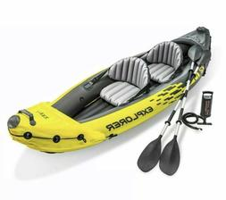 Intex K2 Explorer 2 Person Inflatable Kayak + Oars + Pump +