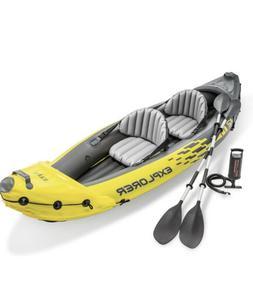 Intex K2 Explorer 2 Person Inflatable Kayak W/ Oars + Pump *