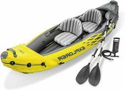 Intex K2 Explorer 2 Person Inflatable Kayak W/ Oars, Pump, a