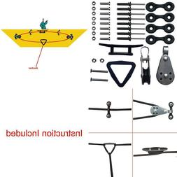 Kayak Canoe Anchor Trolley Kit System Pulley Cleat Pad Eye R