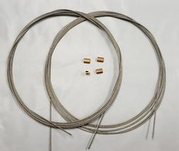"""Kayak Rudder Cables T304 SS  1/16""""  7/7  2-12' Cables W/ 4 C"""