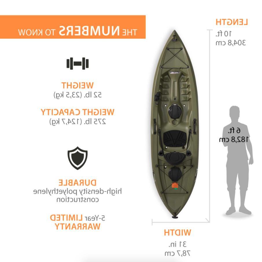 Lifetime 10ft. Tamarack Kayak, On Fishing Paddle - Olive