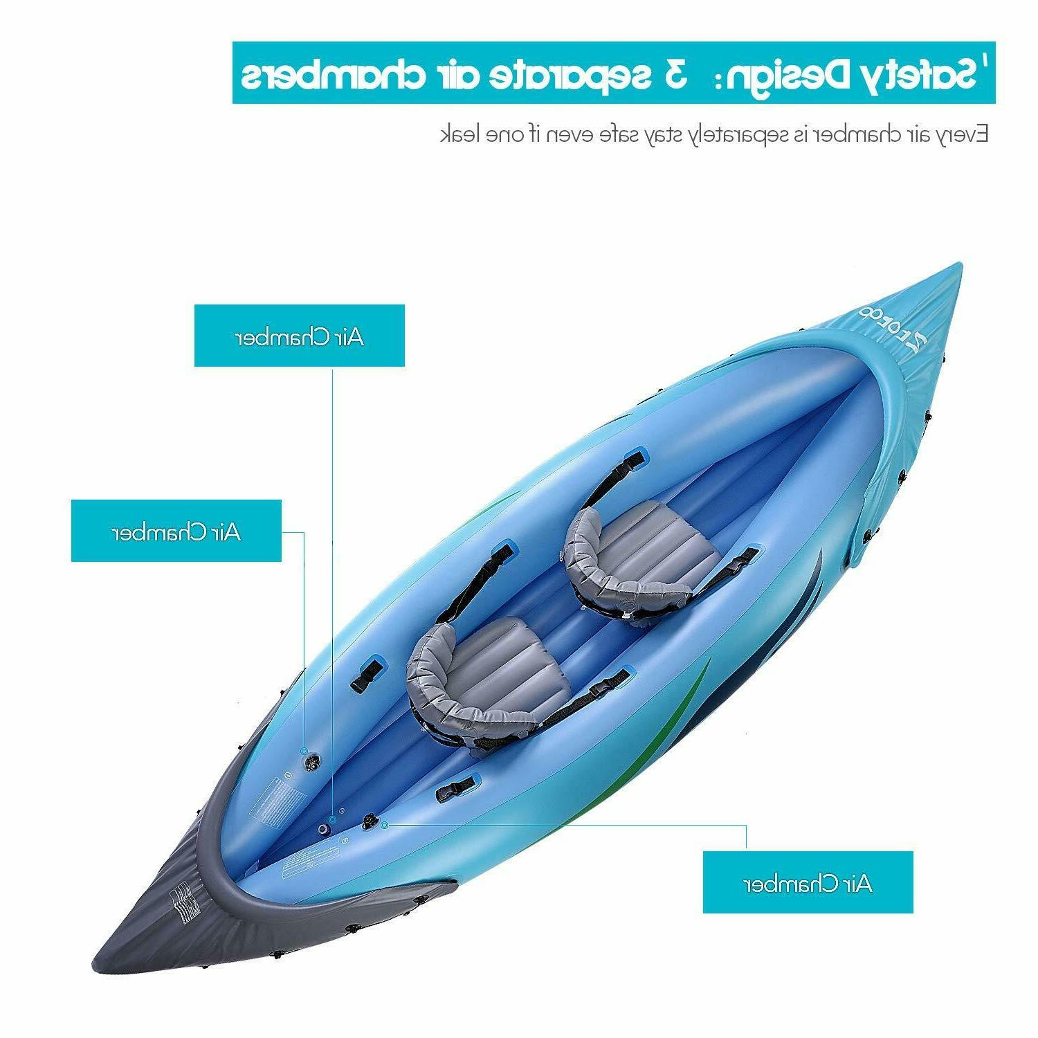 2-Person Inflatable Kayak with Oars & High Air Foot