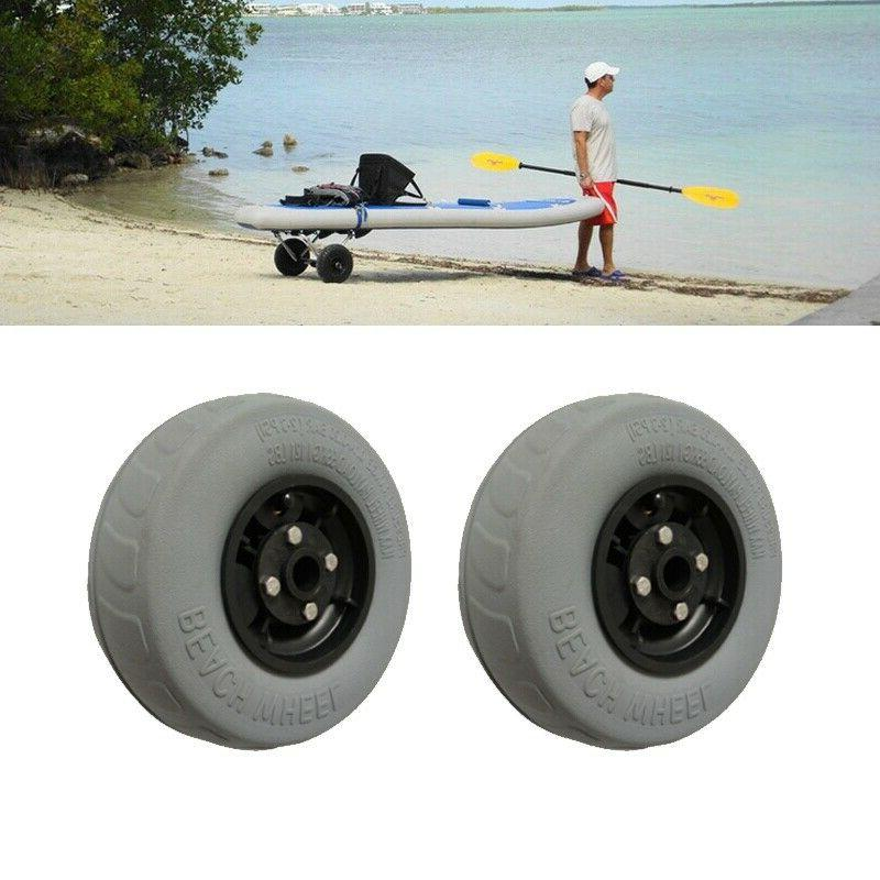 2pcs For Kayak Cart Beach Trolley Pneumatic PU Tire Beach Wh