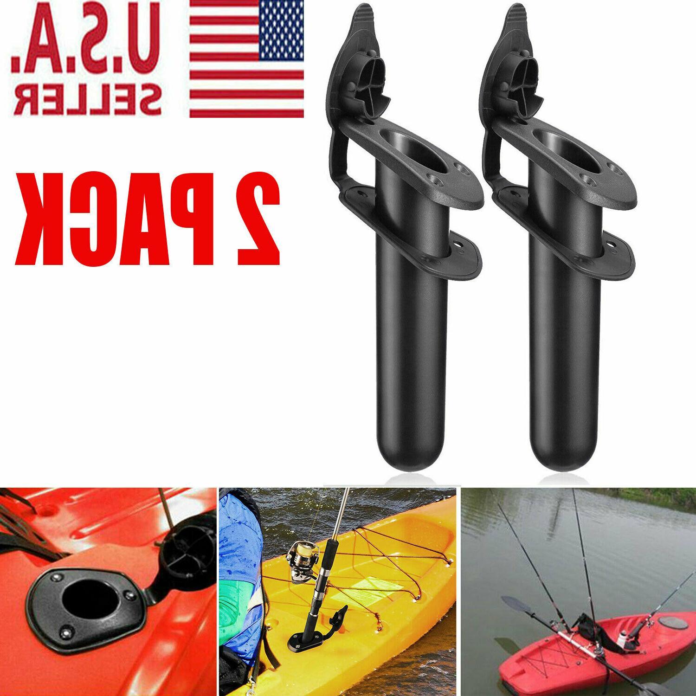 2x plastic flush mount fishing boat rod