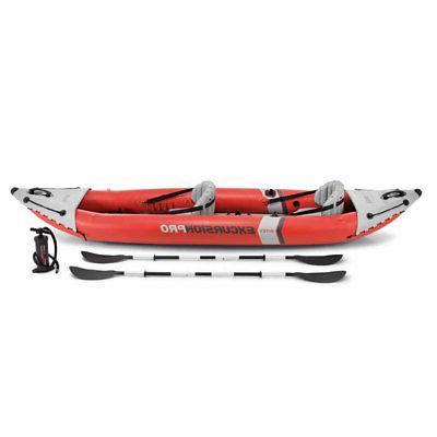 Intex Pro Inflatable 2 Vinyl Kayak with Oars &