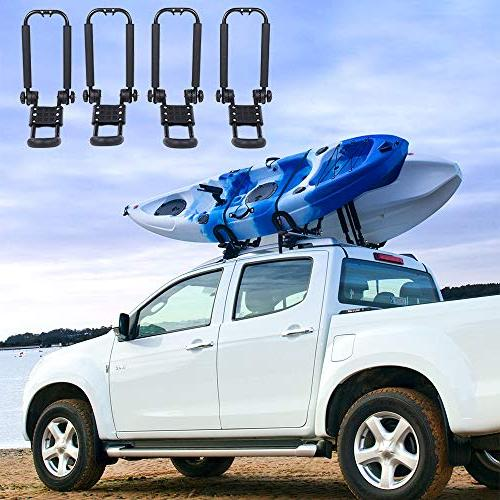 AA-Racks Pair Rack Top Mount with 8 Ft Straps Tie Down Ratchet,Folding Carrier SUP and SUV