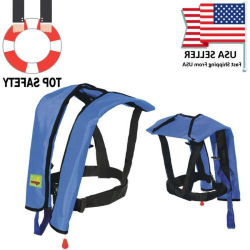 adults manual life jacket vest inflatable aid