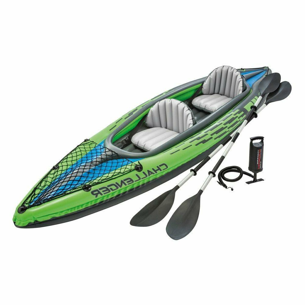 challenger 2 person inflatable kayak set aluminum