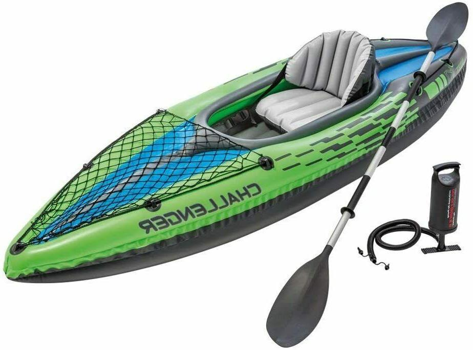 Intex K1 Inflatable Kayak Paddle boat Set w/ Aluminum Oars a