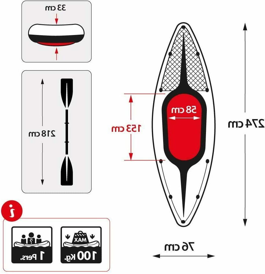 Inflatable Kayak with Oars and Pump
