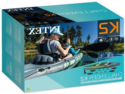 Intex Kayak, 2-Person Inflatable With Aluminum Oars And