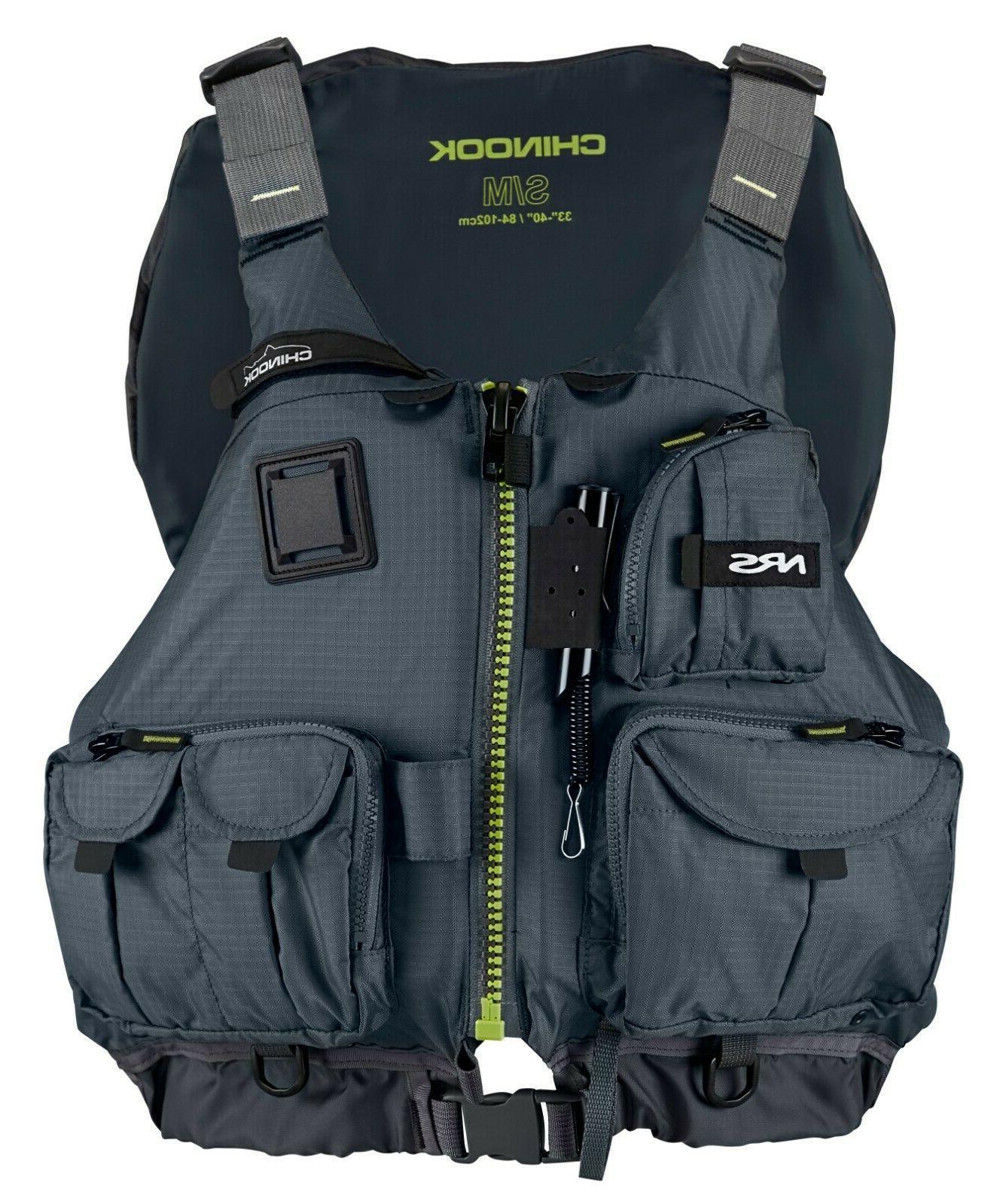 chinook fishing kayak lifejacket pfd charcoal s