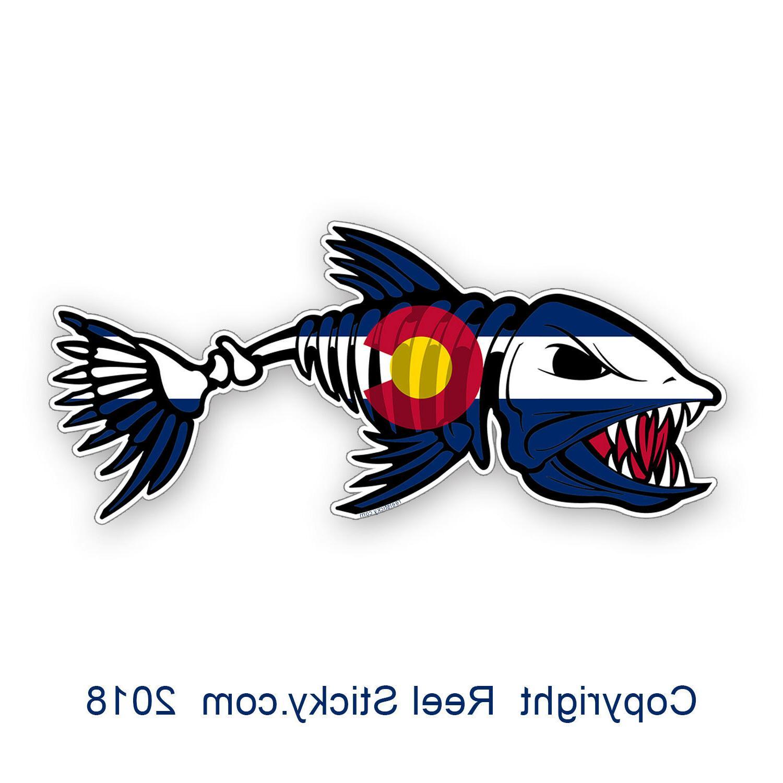 Colorado Bone Fish Flag Sticker CO Fishing Kayak Boat Car Truck Cup Cooler Decal