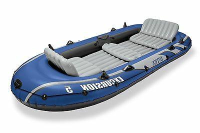 Intex Excursion 5 Person Inflatable Fishing Boat Set w/ Oars