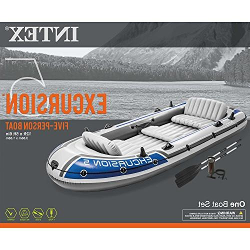 Intex Excursion Inflatable Boat Aluminum Oars and Output Air