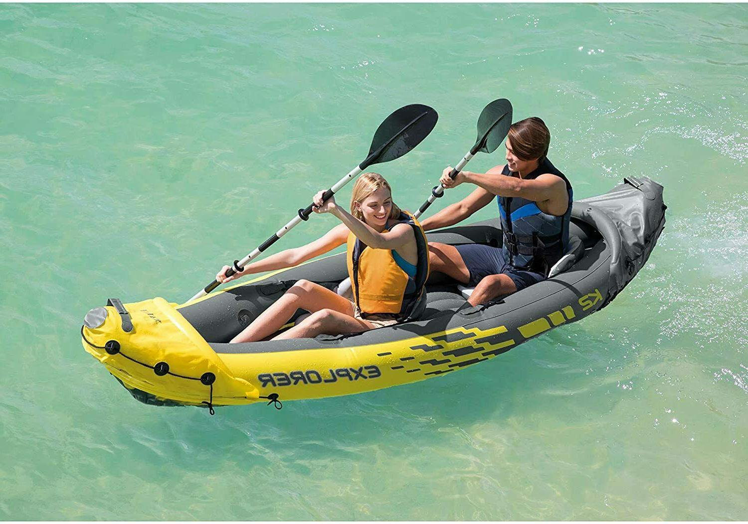 Intex K2 Explorer 2 Person Inflatable Kayak Oars Pump Bag Fa