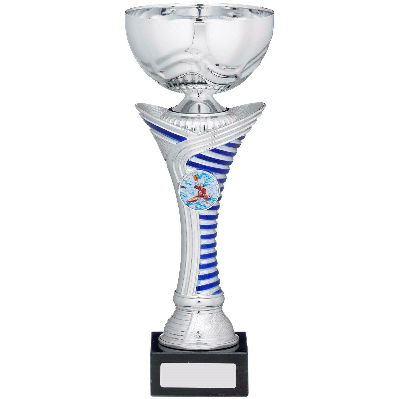 multisport cup silver blue stripe award trophy