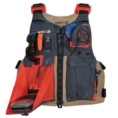 onyx kayak fishing vest adult oversized tan