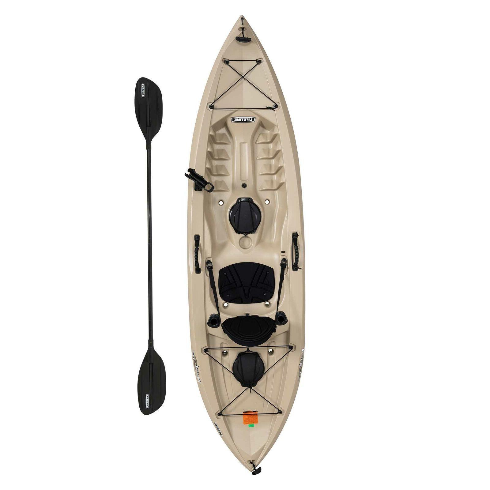 Fishing Kayak w Paddle Adult Sit On Top Padded Seat Storage
