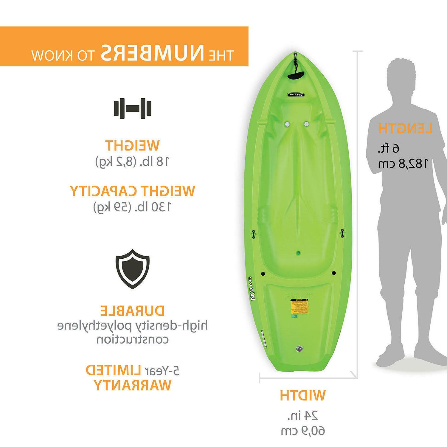 Lifetime Wave 6 ft Youth Kayak  Green/Orange FREE SHIPPING!!