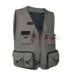 Men Fly Fishing Vest Mesh Waistcoat Mutil-Pocket Quick Dry C