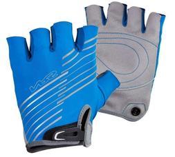 NRS Men's Boater's Gloves 3/4 Finger BLUE/GRAY Paddle Rowing
