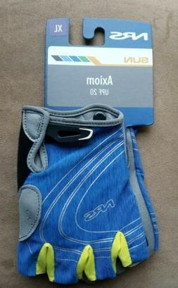 Mens NRS BLUE/YELLOW Axiom Gloves 3/4 Finger Kayak Paddling