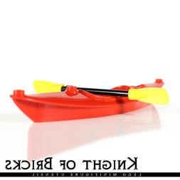 LEGO Minifigure RED Boat Kayak with Yellow Utensil Oar Paddl