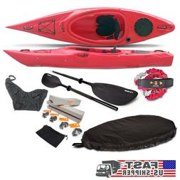 New Quest 10ft Red KAYAK + Paddle + Leash + Seat Cover + Ski