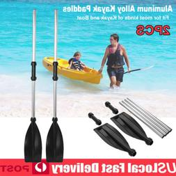 Pair of Aluminum Boat Oars Double-ended Kayak Paddles Float