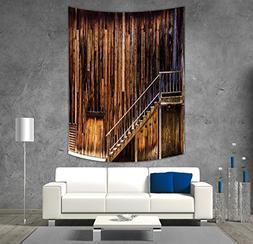 iPrint Polyester Tapestry Wall Hanging,Western,Wooden Cabin