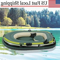 PVC Inflatable Kayak Canoe Three Person Rowing Air Boat Fish
